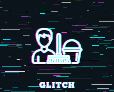 Glitch effect of Cleaning service line icon. Bucket with mop symbol. Washing Housekeeping equipment sign. Background with colored lines. Vector