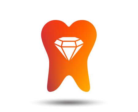 歯の結晶アイコン。歯のジュエリーサイン。歯科名声記号。ぼやけたグラデーションのデザイン要素。鮮やかなグラフィックフラットアイコン。ベ