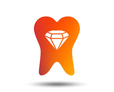 Tooth crystal icon. Tooth jewellery sign. Dental prestige symbol. Blurred gradient design element. Vivid graphic flat icon. Vector