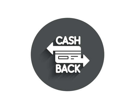 Credit card simple icon. Banking Payment card sign. Cashback service symbol. Circle flat button with shadow. Vector Ilustração