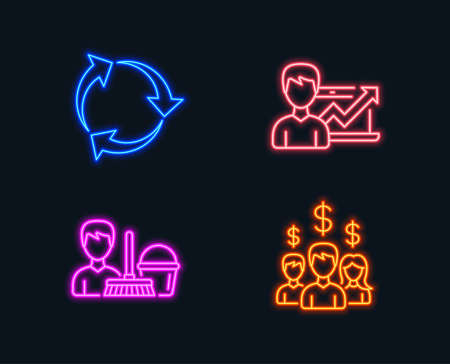 Neon lights. Set of Recycle, Success business and Cleaning service icons. Salary employees sign. Recycling waste, Growth chart, Bucket with mop. People earnings.  Glowing graphic designs. Vector