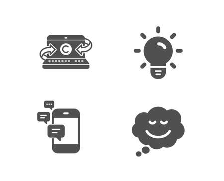 Set of Communication, Light bulb and Copywriting notebook icons. Speech bubble sign. Smartphone messages, Lamp energy, Writer laptop. Comic chat.  Quality design elements. Classic style. Vector Ilustração