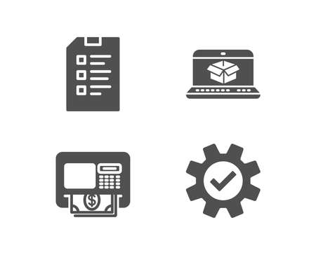Set of Checklist, Atm and Online delivery icons. Service sign. Data list, Money withdraw, Parcel tracking website. Cogwheel gear.  Quality design elements. Classic style. Vector