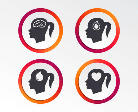 Head with brain icon. Female woman think symbols. Blood drop donation signs. Love heart. Infographic design buttons. Circle templates. Vector
