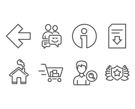 Set of Left arrow, Download file and Search people icons. Shopping cart, Communication and Laureate signs. Direction arrow, Load document, Find profile. Online buying, Business messages, Award shield Çizim