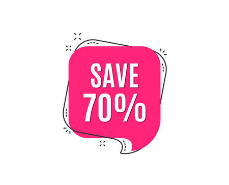 Save 70% off. Sale Discount offer price sign. Special offer symbol. Speech bubble tag. Trendy graphic design element. Vector