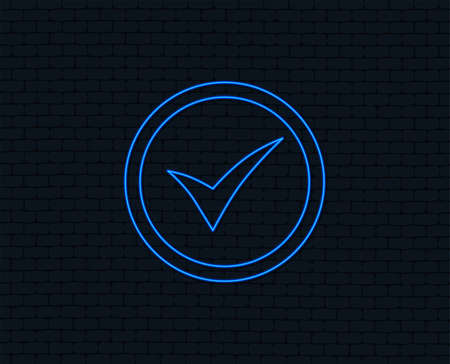 Check mark sign icon. Yes circle symbol. Confirm approved. Glowing graphic design.