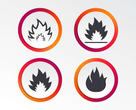 Icone di fiamma di fuoco. Simboli di calore. Segni infiammabili Pulsanti di progettazione infografica. Modelli circolari. Vettore Vettoriali