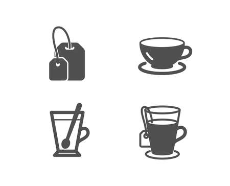 Set of Tea mug, Tea bag and Espresso icons. Cup with teaspoon, Brew hot drink, Coffee cup and Glass mug. Quality design elements.