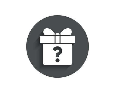 Gift box with Question mark simple icon. Present or Sale sign. Birthday Shopping symbol. Package in Gift Wrap. Circle flat button with shadow. Vector Ilustração