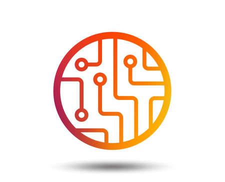Circuit board sign icon. Technology scheme circle symbol. Blurred gradient design element. Vivid graphic flat icon. Vector