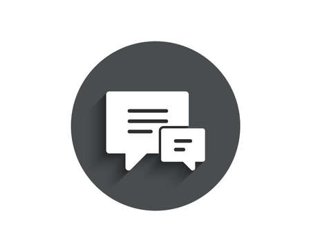 Chat simple icon. Speech bubble sign. Communication or Comment symbol. Circle flat button with shadow. Vector