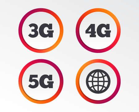 Icônes de télécommunications mobiles. Symboles technologiques 3G, 4G et 5G. Signe de globe terrestre. Boutons de conception infographique. Modèles de cercle. Vecteur Vecteurs