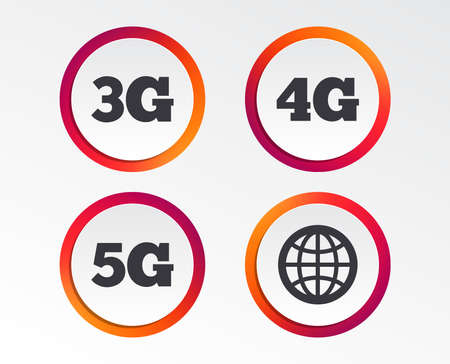 Mobile telecommunications icons. 3G, 4G and 5G technology symbols. World globe sign. Infographic design buttons. Circle templates. Vector Иллюстрация