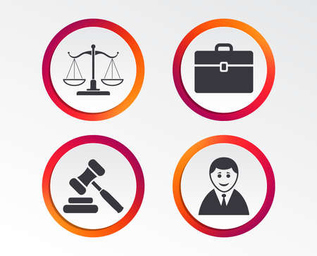 Scales of Justice icon. Client or Lawyer symbol. Auction hammer sign. Law judge gavel. Court of law. Infographic design buttons. Circle templates. Vector