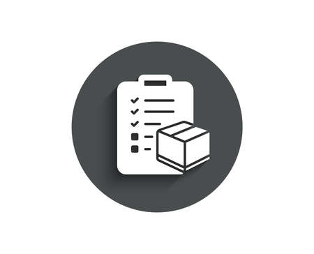 Parcel checklist simple icon. Logistics check sign. Package control symbol. Circle flat button with shadow. Vector