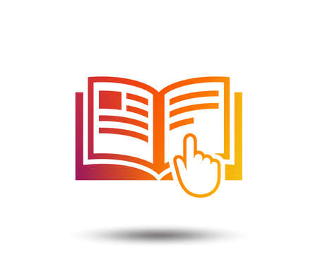Instruction sign icon. Manual book symbol. Read before use. Blurred gradient design element. Vivid graphic flat icon. Vector 向量圖像