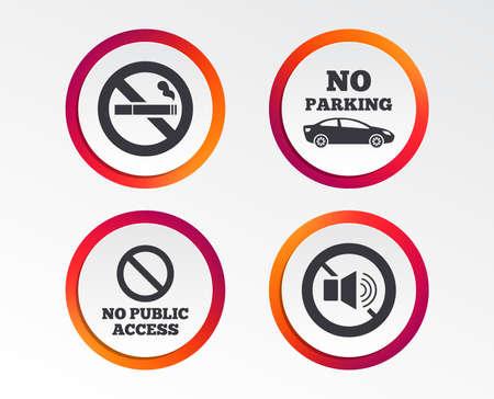 금연하고 소리가 나지 않습니다. 개인 영토 주차 또는 공공 액세스, 담배 기호 및 스피커 볼륨. 일러스트