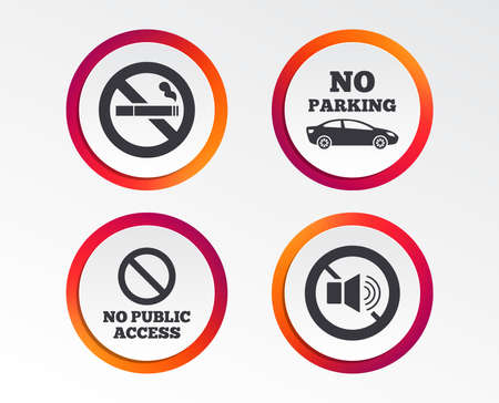 Stop smoking and no sound signs. Private territory parking or public access, Cigarette symbol and Speaker volume. 向量圖像