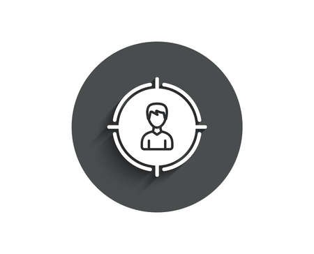 Head hunting simple icon. Business target or Employment sign. Circle flat button with shadow. Vector Illustration