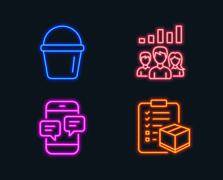 Set of Bucket, Teamwork results and Phone messages icons. Parcel checklist sign. Washing equipment, Group work, Mobile chat. Logistics check. Glowing graphic designs. Vector