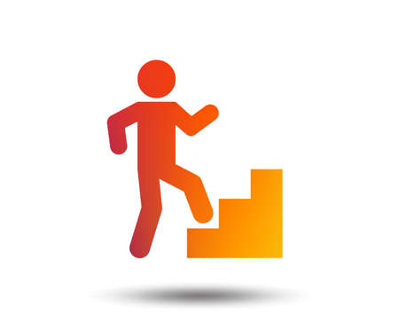Upstairs icon. Human walking on stairs sign. Blurred gradient design element. Vivid graphic flat icon. Vector Illustration
