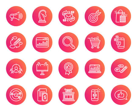 Marketing line icons. Set of Strategy, Feedback and Advertisement campaign signs. Research, Communication and Keywords symbols. Chess Knight, Target and Mail. Trendy gradient circle buttons. Vector