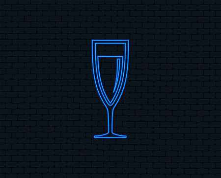 Glass of champagne sign icon. Sparkling wine. Celebration or banquet alcohol drink symbol. Glowing graphic design.