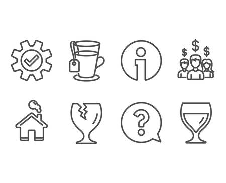 Set of Fragile package, Service and Tea icons. Question mark, Salary employees and Wine glass signs. Safe shipping, Cogwheel gear, Glass mug. Help support, People earnings, Cabernet wineglass. Vector
