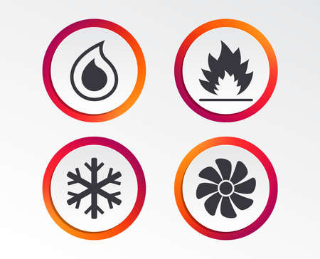 HVAC icons. Heating, ventilating and air conditioning symbols. Water supply. Climate control technology signs.