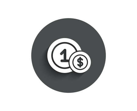 Coins simple icon. Money sign. Dollar currency symbol. Cash payment method. Circle flat button with shadow. Vector