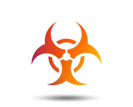 Biohazard sign icon. Danger symbol. Blurred gradient design element. Vivid graphic flat icon. Vector Illustration