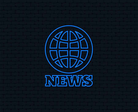 Neon light of  News sign icon. World globe symbol. Glowing graphic design. Brick wall. Vector