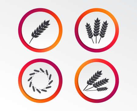 農業アイコン。グルテンフリーまたはグルテンサインなし。小麦トウモロコシのシンボルのリース。インフォグラフィックデザインボタン。円テン