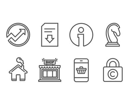 Set of Smartphone buying, and Download file icons. Marketing strategy, Shop and Сopyright locker signs. Website shopping, Arrow graph, Load document. Chess knight, Store, Private information Illustration