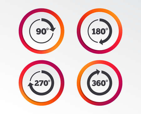 Angle 45-360 degrees circle icons. Geometry math signs symbols. Full complete rotation arrow. Infographic design buttons. Circle templates. Vector Illustration