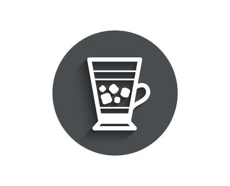 Frappe coffee icon. Cold drink sign. Beverage symbol. Circle flat button with shadow. Vector