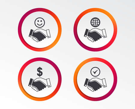 Handshake icons. World, Smile happy face and house building symbol. Dollar cash money. Amicable agreement. Infographic design buttons. Circle templates. Vector Illustration
