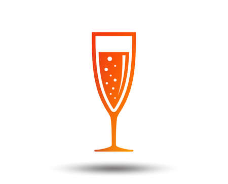 Glass of champagne sign icon. Sparkling wine with bubbles. Celebration or banquet alcohol drink symbol. Blurred gradient design element. Vivid graphic flat icon. Vector