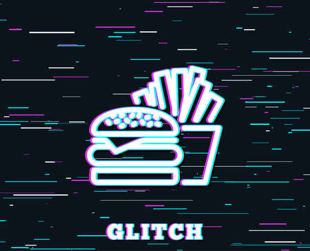 Glitch effect. Burger with fries line icon. Fast food restaurant sign. Hamburger or cheeseburger symbol. Background with colored lines. Vector