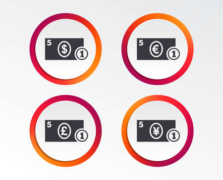 Businessman case icons. Dollar, yen, euro and pound currency sign symbols. Infographic design buttons. Circle templates. Vector