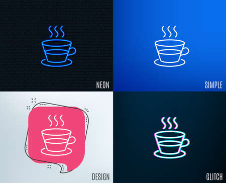 Glitch, Neon effect. Coffee and Tea line icon. Hot drink sign. Fresh beverage symbol. Trendy flat geometric designs. Vector