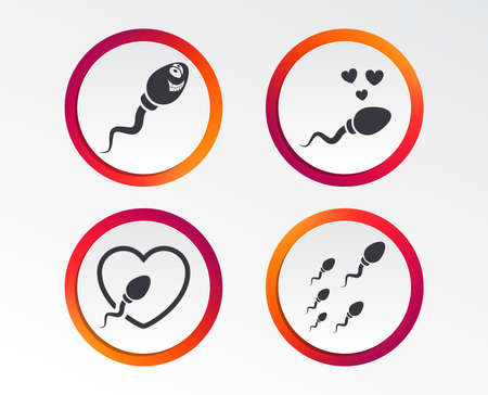 A sperm icons. Fertilization or insemination signs. Safe love heart symbol. Infographic design buttons. Circle templates. Vector Illustration
