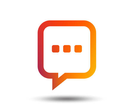 Chat sign icon. Speech bubble with three dots symbol. Communication chat bubble. Blurred gradient design element. Vivid graphic flat icon. Vector Illusztráció