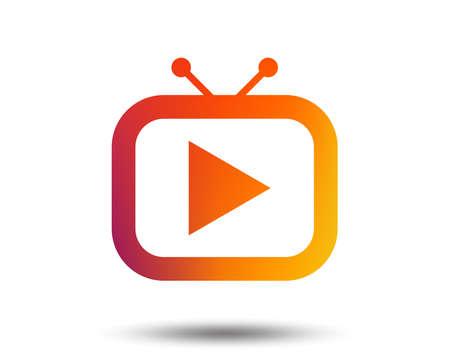 Retro TV mode sign icon. Television set symbol. Blurred gradient design element. Vivid graphic flat icon. Vector