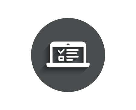 オンライン教育シンプルなアイコン。ノートブックまたはラップトップのサイン。Web プレゼンテーションまたはインターネット講義のシンボル。影