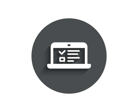 Online Education simple icon. Notebook or Laptop sign. Web Presentation or Internet Lectures symbol. Circle flat button with shadow. Vector Illustration