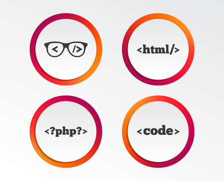 Programmer coder glasses icon. HTML markup language and PHP programming language sign symbols. Infographic design buttons. Circle templates. Vector