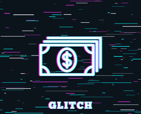 Glitch effect. Cash money line icon. Banking currency sign. Dollar or USD symbol. Background with colored lines. Vector Stock Illustratie