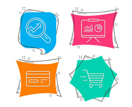 Set of Credit card, Presentation and Analytics icons. Delivery shopping sign. Card payment, Board with charts, Audit analysis. Online buying. Flat geometric colored tags. Vivid banners. Vector Illustration